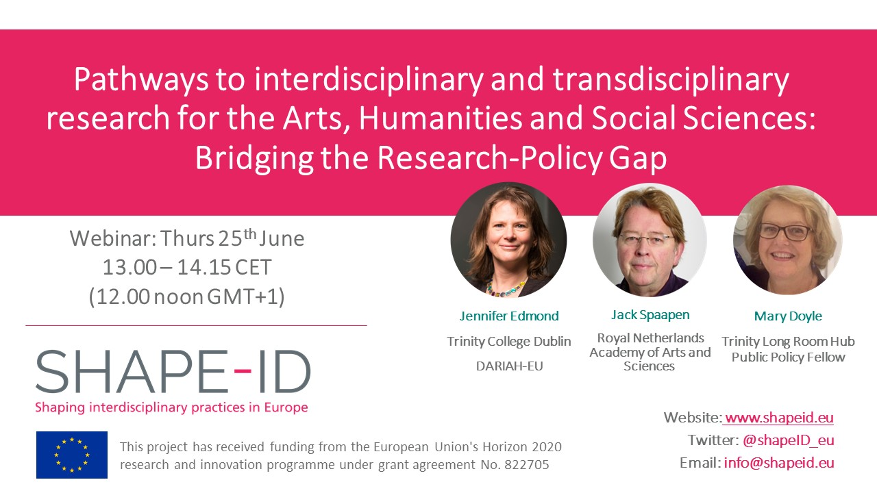 Second SHAPE-ID Webinar | Pathways To Interdisciplinary And Transdisciplinary Research For The Arts, Humanities And Social Sciences: Bridging The Research-Policy Gap