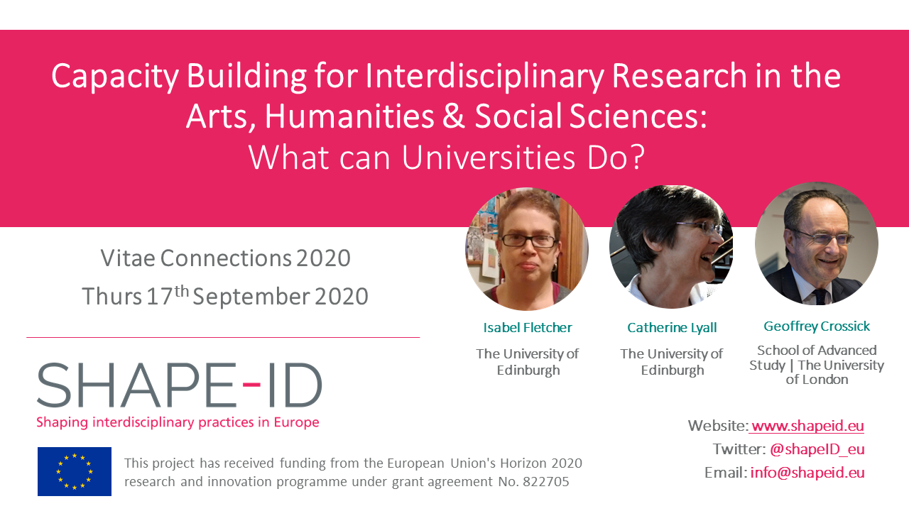 SHAPE-ID At Vitae Connections 2020 | Capacity Building For Interdisciplinary Research