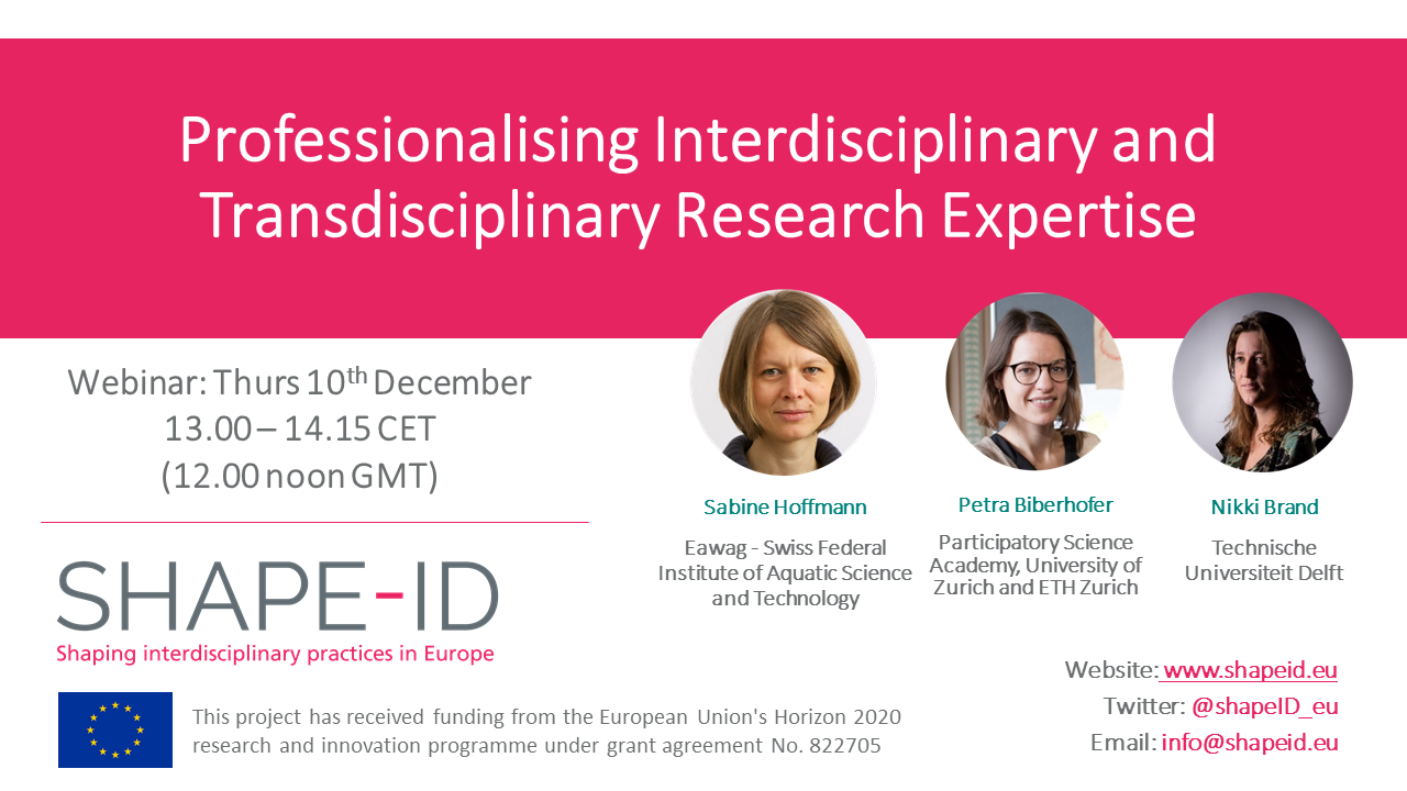 SHAPE-ID Webinar Report: Professionalising Inter- And Transdisciplinary Research Expertise